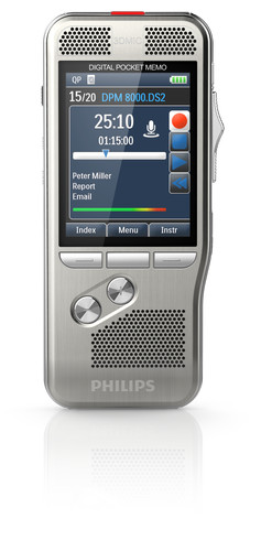Philips 8200 Pocket Memo, professionelles digitales Diktiergerät für Dragon Medical und Legal 13 Spracherkennung. Mit Ladestation.